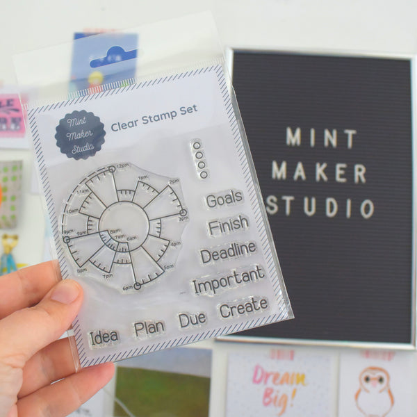 Clear Bullet Journal Stamps - Chronodex and Goal Setting Words