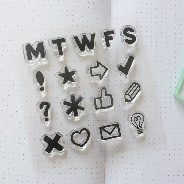 Clear Bullet Journal Stamps - Days of the Week and Icons