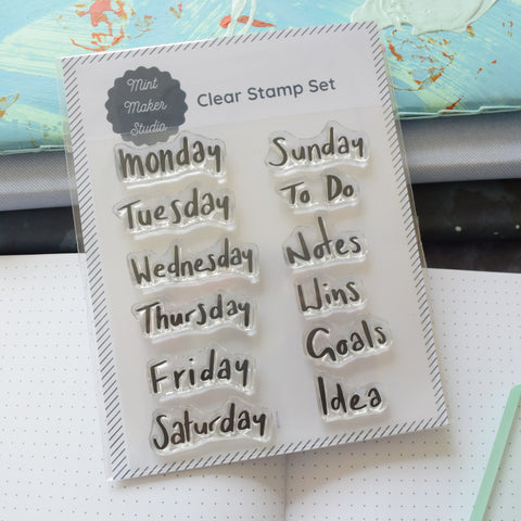Clear Bullet Journal Stamps - Relaxed Days of the Week and Planner Words