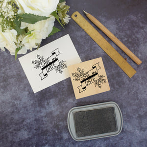 Floral Banner Save The Date Rubber Stamp