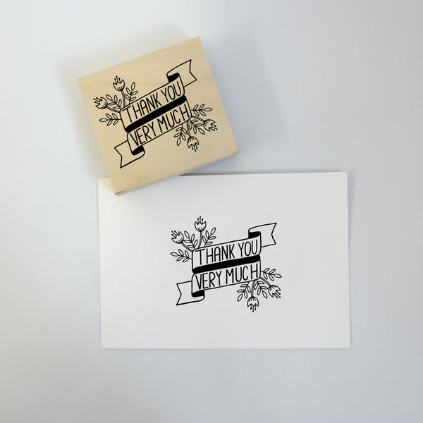 Floral Banner Thank You Rubber Stamp