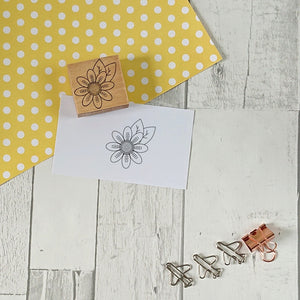 Flower and Leaves Rubber Stamp