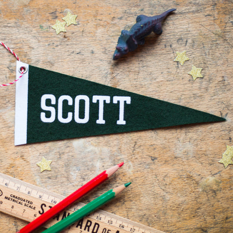 Small Green Felt Personalised Pennant from Mint Maker Studio