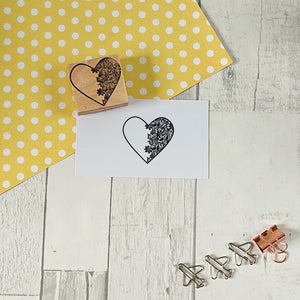 Half Lace Heart Rubber Stamp
