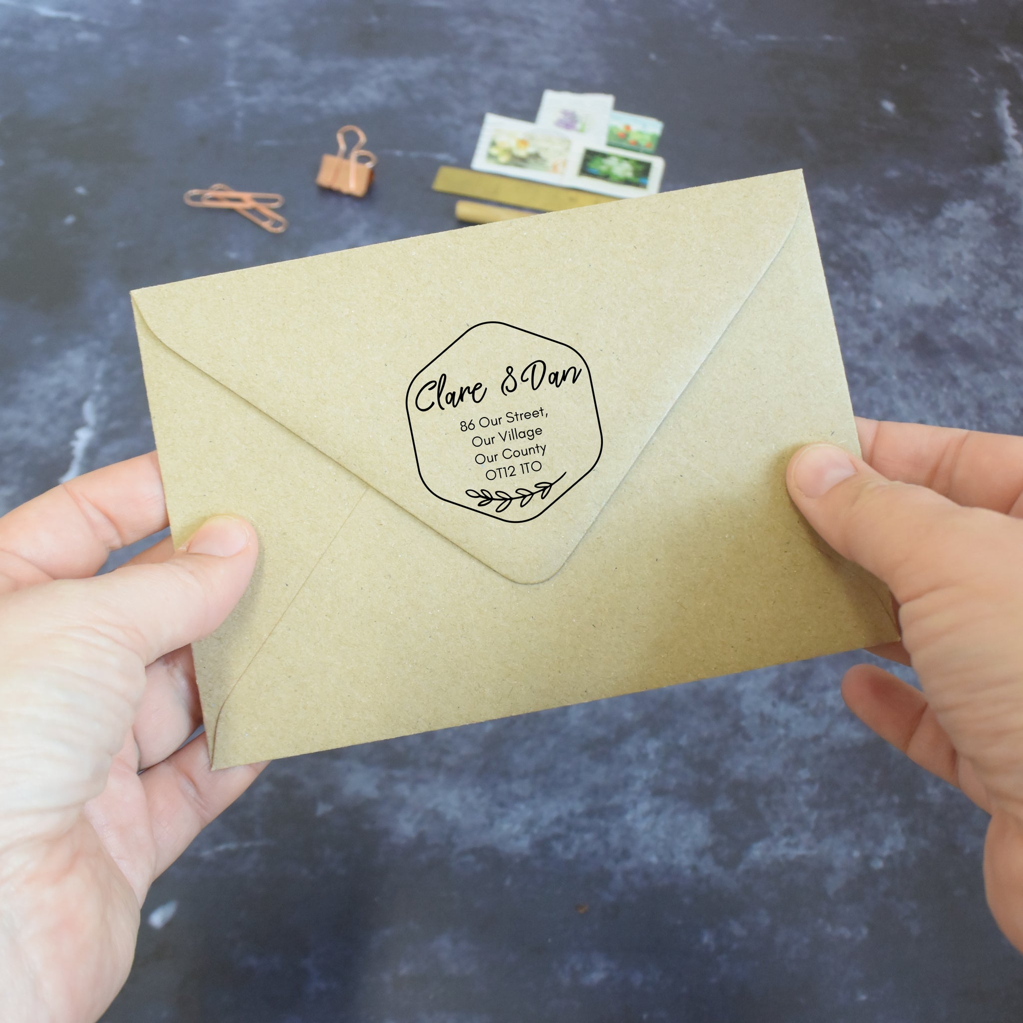 Personalised Honeycomb Address Stamp