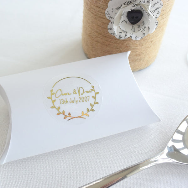 Personalised Foiled Laurel Wreath Stickers
