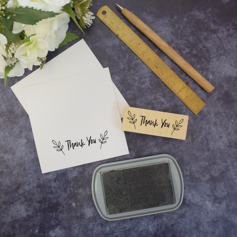 Botanical Leaves Thank You Rubber Stamp