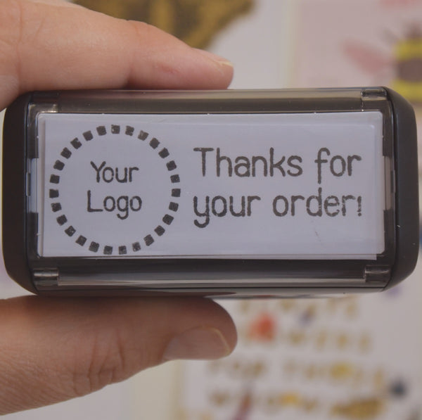 Business Stamp Bundle - Personalised Follow Online, Thank You for Ordering Self Inking Stamp