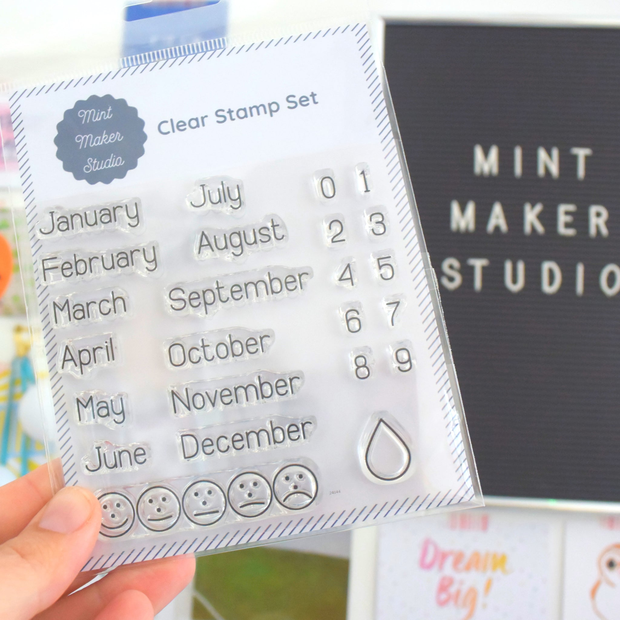 Clear Bullet Journal Stamps - Months of the year, Numbers, Mood and Water Tracker