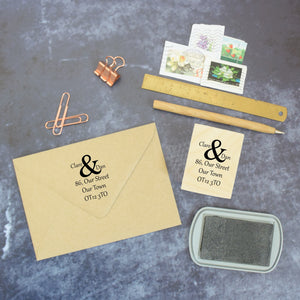 Personalised Ampersand Address Rubber Wedding Stamp