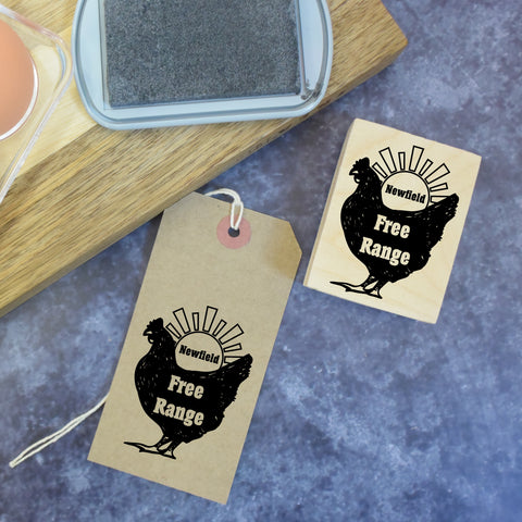 Personalised Chicken and Sun Egg Box Rubber Stamp