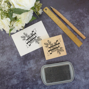 Personalised Floral Banner Wedding Stamp