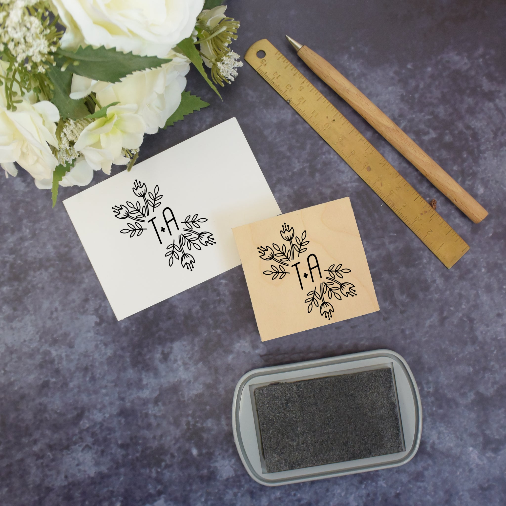 Personalised Floral Monogram Wedding Stamp