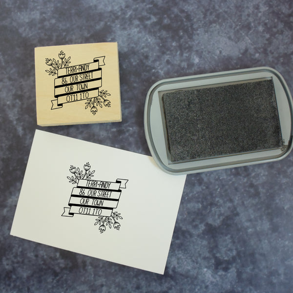 Personalised Floral Banner Address Stamp