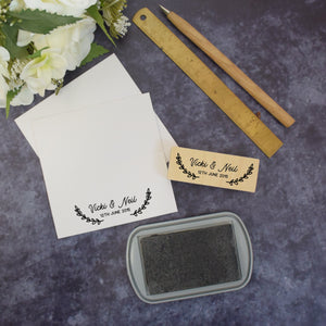 Personalised Laurel Branch Couple Wedding Rubber Stamp