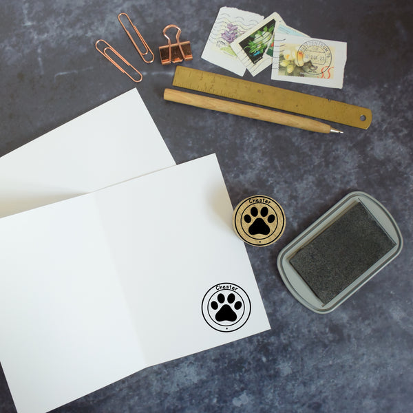 Personalised Paw Print Pet Name Rubber Stamp