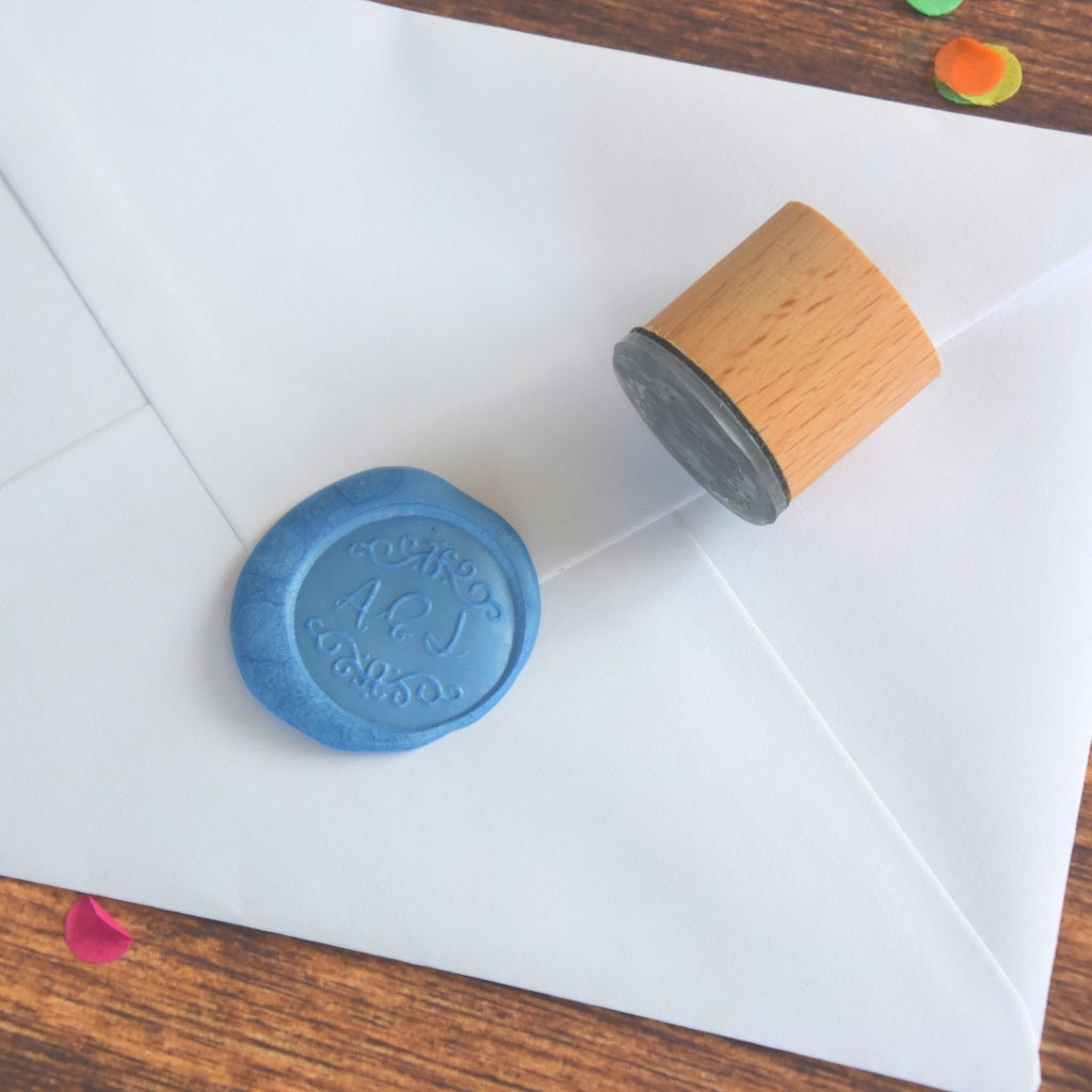 Personalised Monogram Wax Seal Stamp - Decorative Border