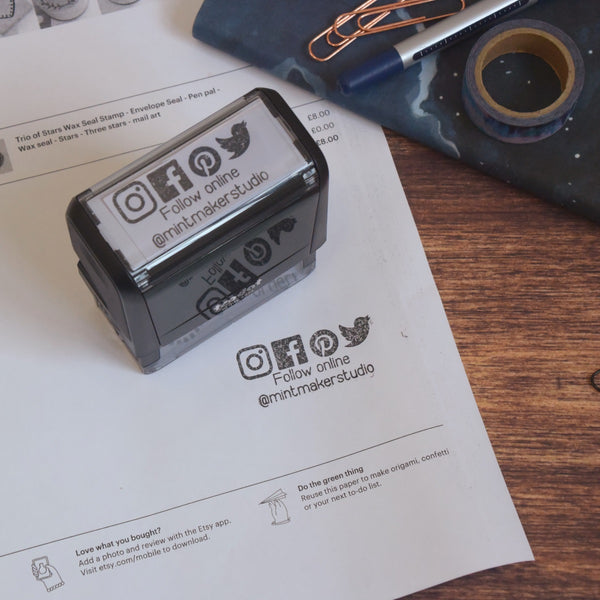 Business Stamp Bundle - Follow Online and Hashtag Self Inking Stamp