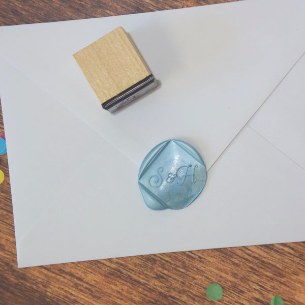 Personalised Square Monogram Wax Seal Stamp - Monoline