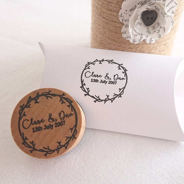 Personalised Leaf Vine Couple Wedding Favour Stamp