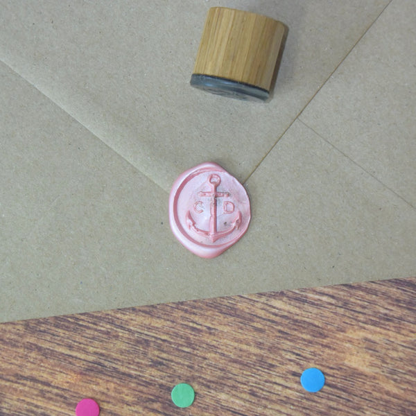 Personalised Distressed Anchor Monogram Wax Seal Stamp