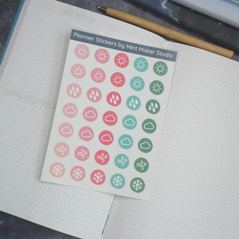 Weather tracker stickers for your planner