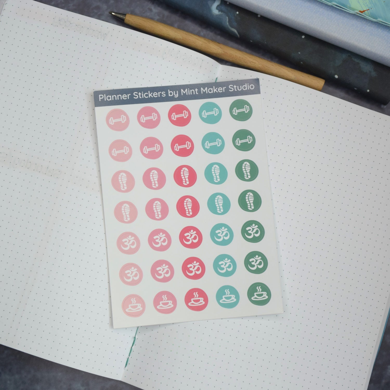 Wellness tracker stickers for your planner