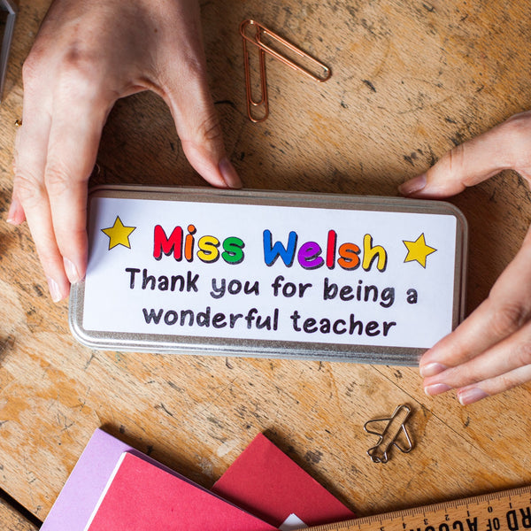Personalised Teachers Pencil Tin and Stamp Set