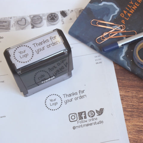 Personalised Thank You and Logo Self Inking Stamp