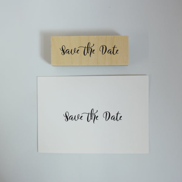 Simple Calligraphy Save the Date Rubber Stamp