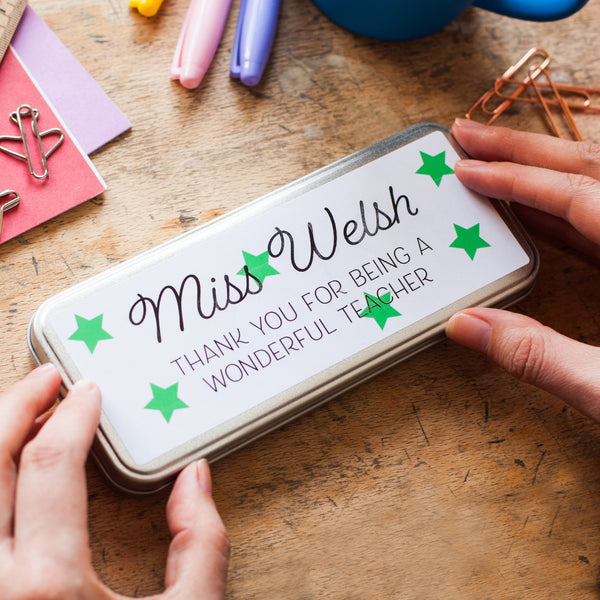 Personalised Teachers Star Pencil Tin and Stamp Set
