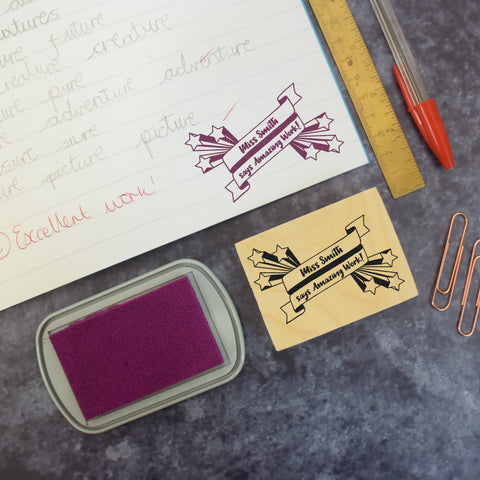 Personalised Stars and Banner Teacher Reward Stamp