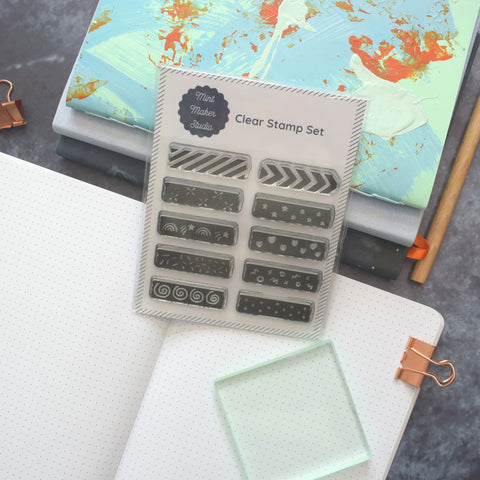 Clear Bullet Journal Stamps - Washi Tape Strips