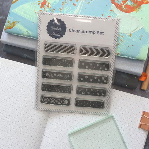 Clear Bullet Journal Stamps - Washi Tape Strips from Mint Maker Studio