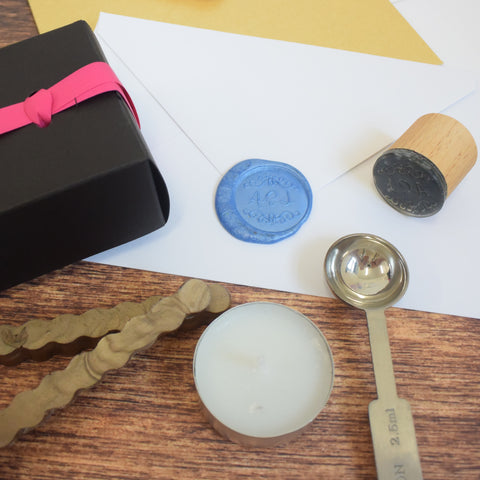Sealing Wax Stick Gift Set - Hand dyed and poured wax sticks, candle and melting spoon