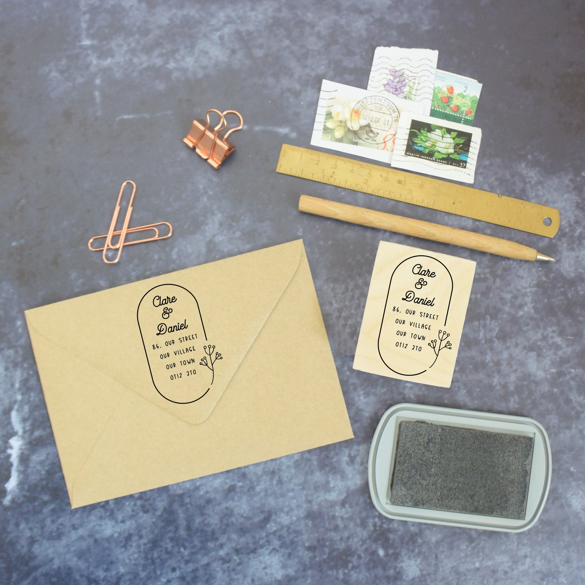 Personalised Botanical Address Stamp