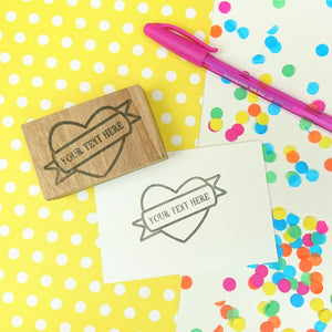 Personalised Heart and Banner Rubber Stamp