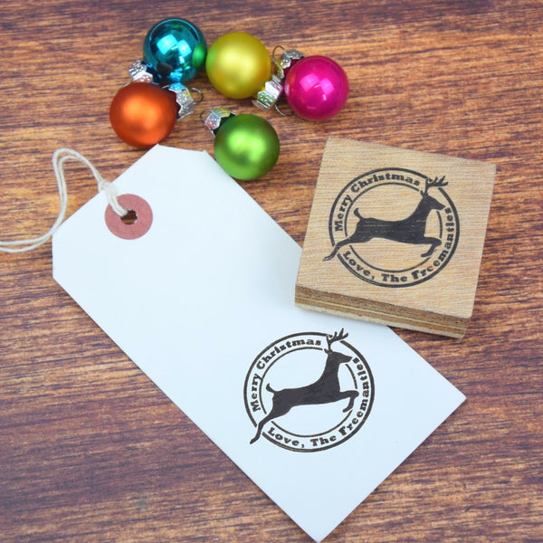 Personalised Flying Reindeer Family Christmas Message Rubber Stamp