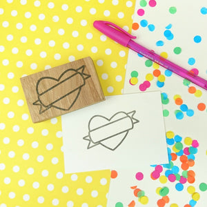 Heart and Banner Rubber Planner Stamp