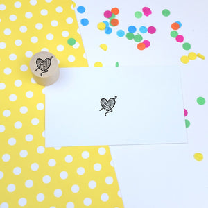 Crochet Heart Mini Rubber Stamp