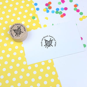 Yarn Heart Rubber Stamp - Made with Blood, sweat and swears