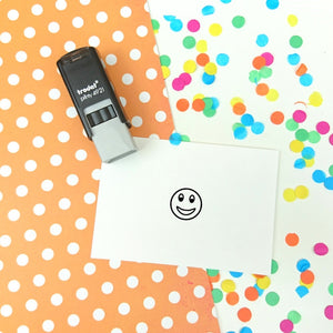 Tiny Smiley Face Self Inking Teacher Reward Stamp