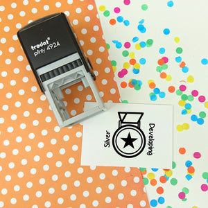 Silver Medal Achievement Self Inking Teacher Reward Stamp