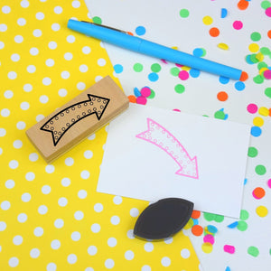Retro Neon Arrow rubber planner stamp
