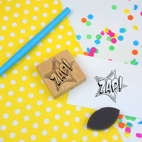 ZAP! Stamp - Comic Book Style Rubber Stamp - Craft Stamp