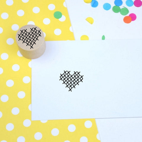 Cross Stitch Heart Mini Rubber Stamp