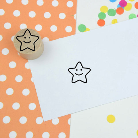 Smiley Star Teacher Mini Rubber Stamp