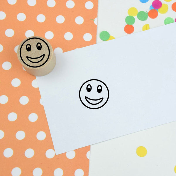 Smiley Face Mini Teacher Rubber Stamp