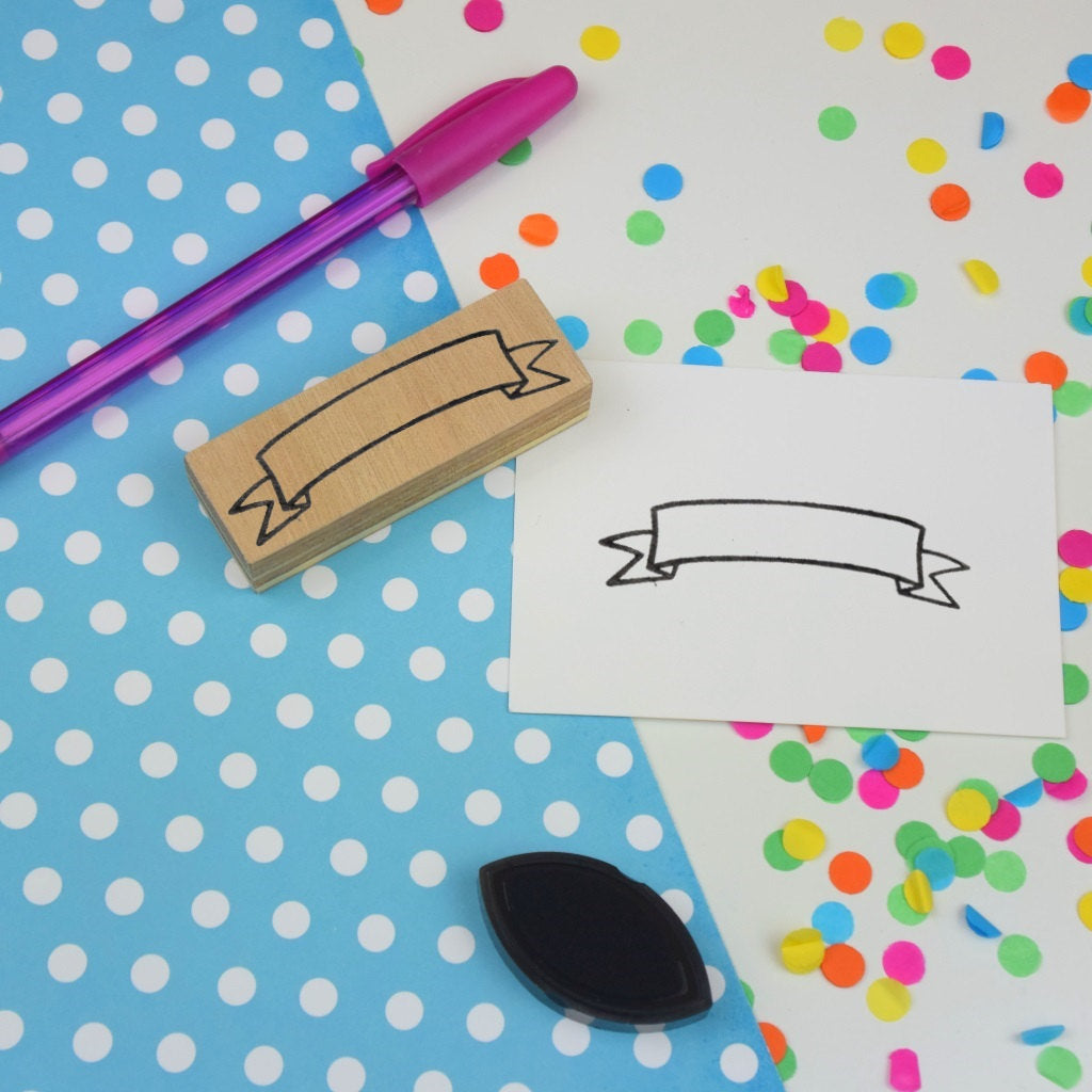 Ribbon Banner Rubber Planner Stamp