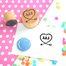 Personalised Loopy Heart Couple Wedding Favour Stamp